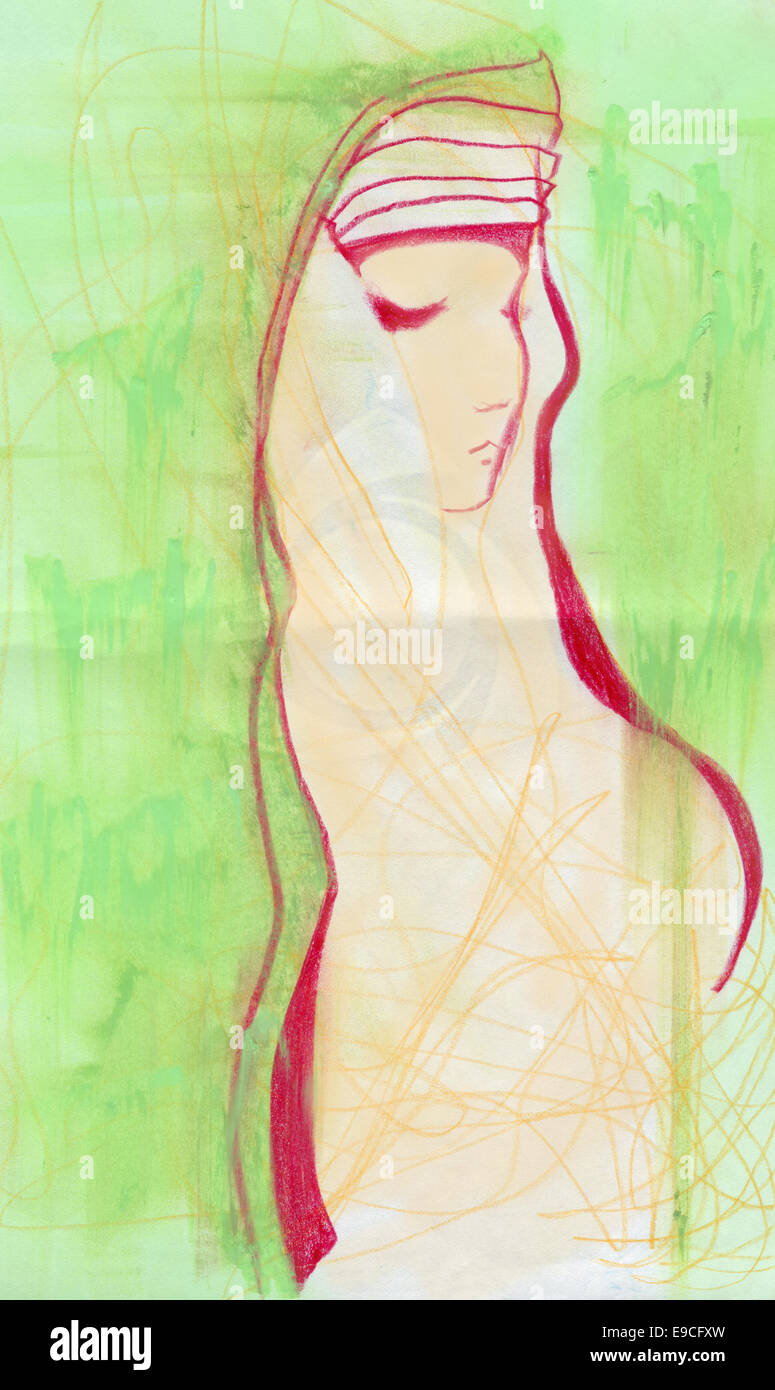 Girl in green, original pastel sketch. Stock Photo