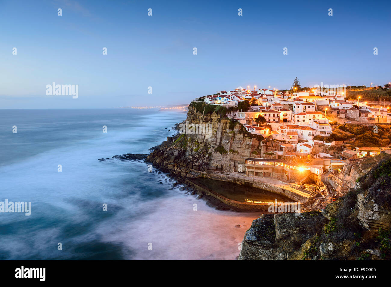 Azenhas Do Mar, Sintra, Portugal townscape on the coast. Stock Photo