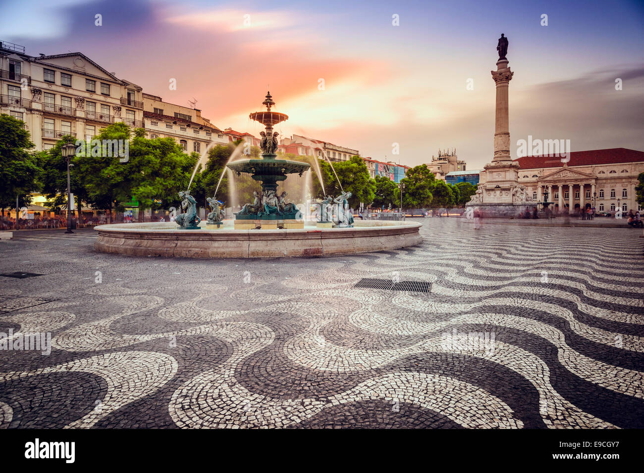Lisbon, Portugal at Rossio Square. - Stock Image