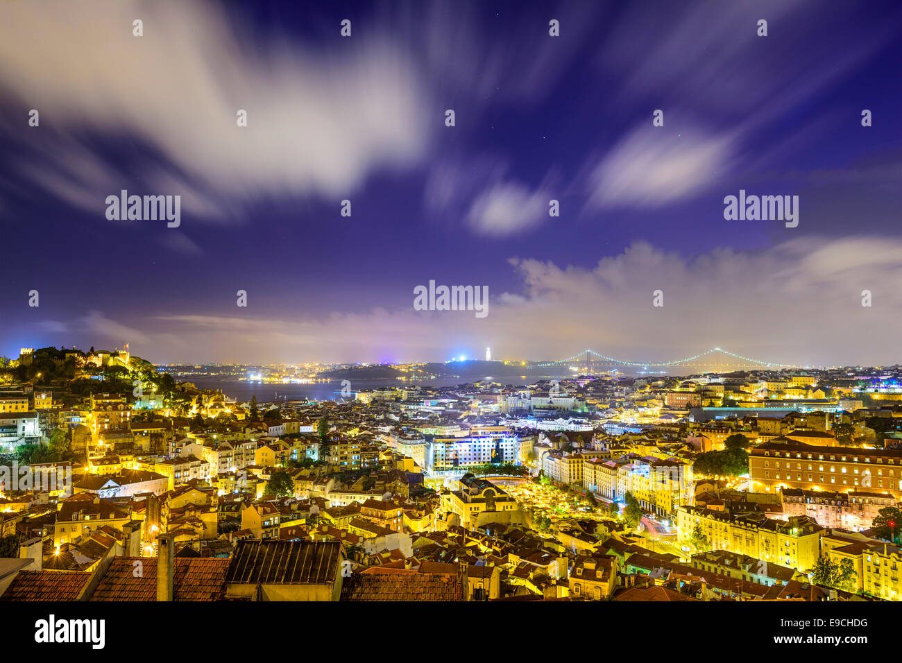 Lisbon, Portugal skyline at night. Stock Photo