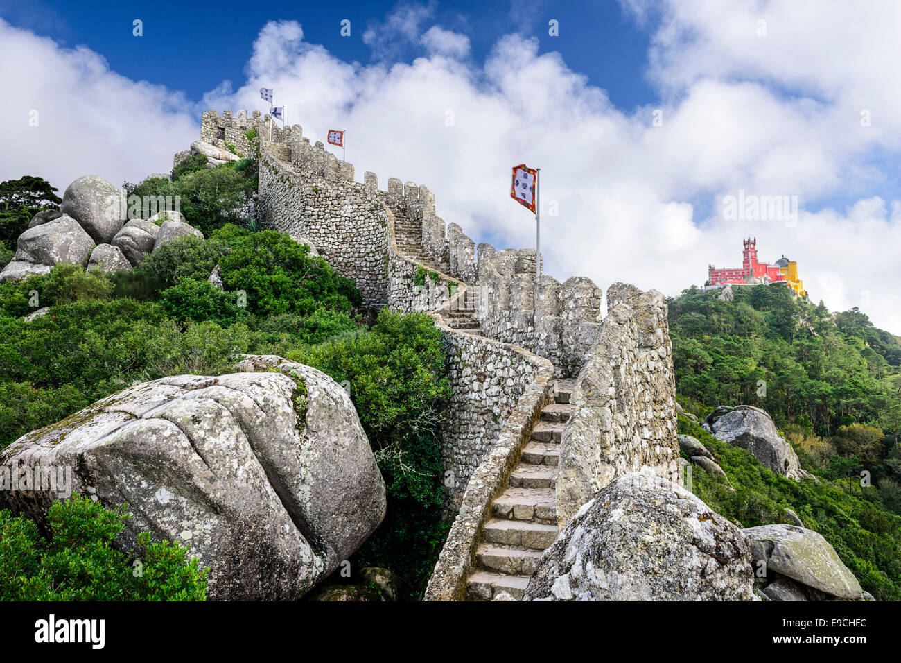 Sintra, Portugal at the Moorish Castle and Pena Palace. Stock Photo