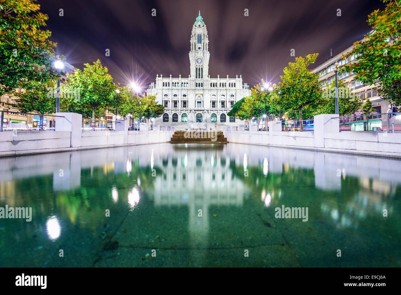 Porto, Portugal city hall at night. - Stock Image