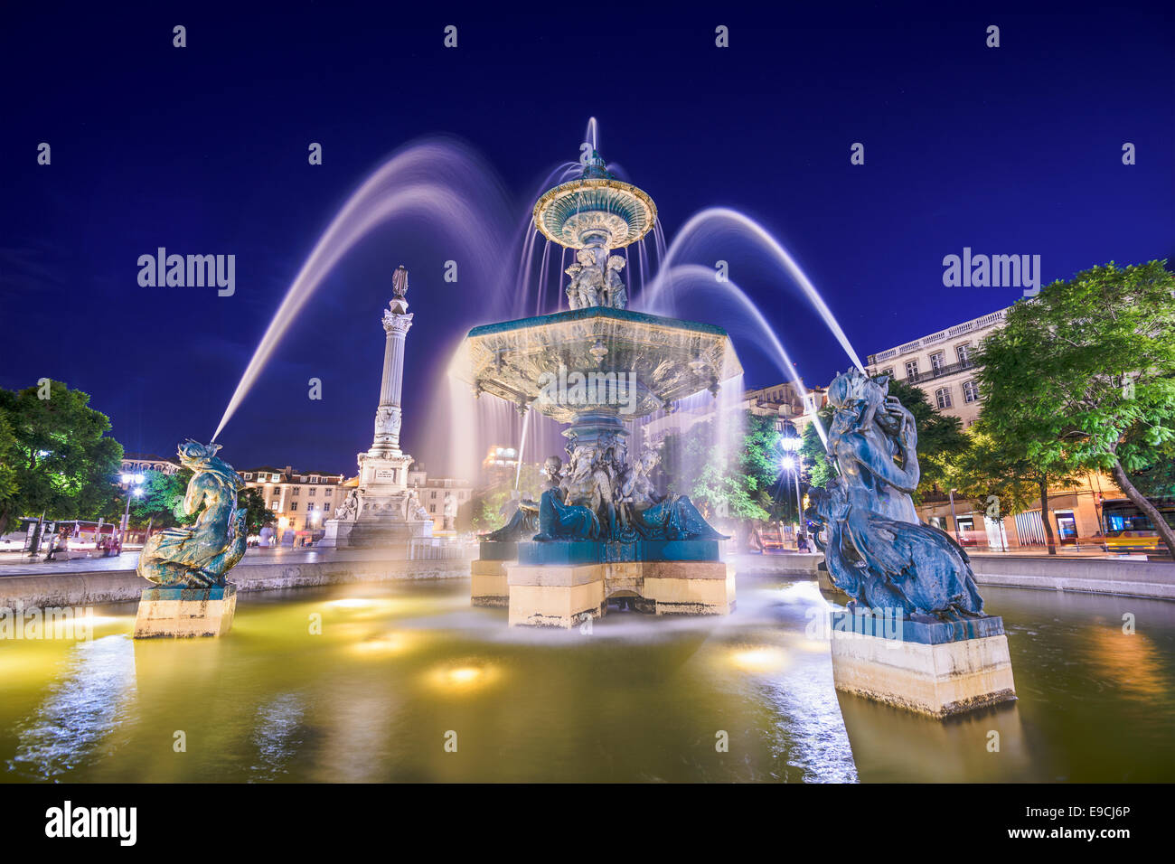 Lisbon, Portugal at the Rossio Square fountain. - Stock Image