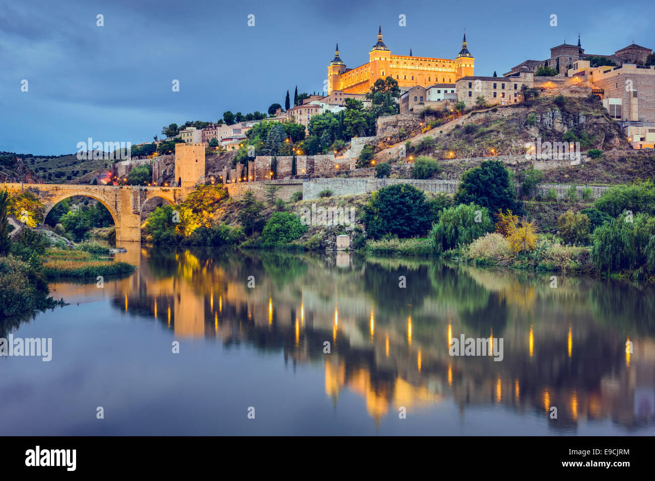 Toledo, Spain town skyline on the Tagus River. Stock Photo