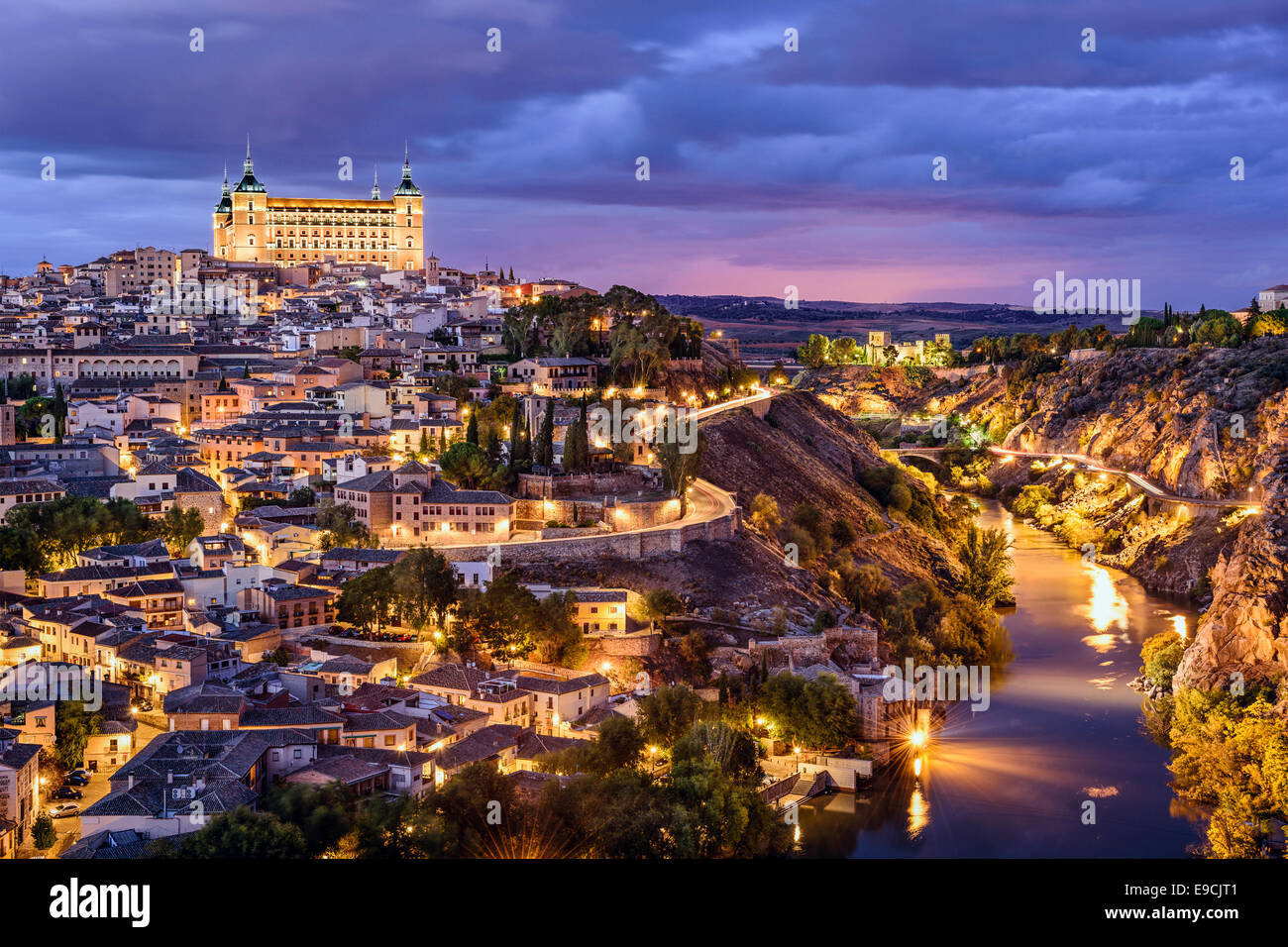 Toledo, Spain town skyline on the Tagus River. - Stock Image
