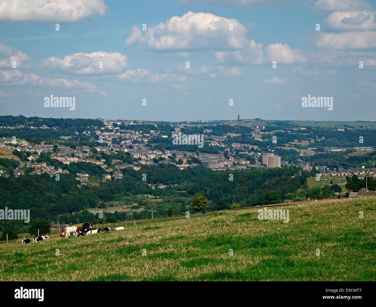 Looking over the Calder Valley towards Sowerby Bridge, Calderdale, West Yorkshire, the setting for the TV series - Stock Image