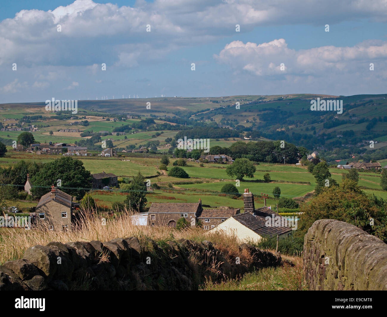 View looking north from Sowerby over the Calder Valley towards Luddenden and the moors beyond, Calderdale, West - Stock Image