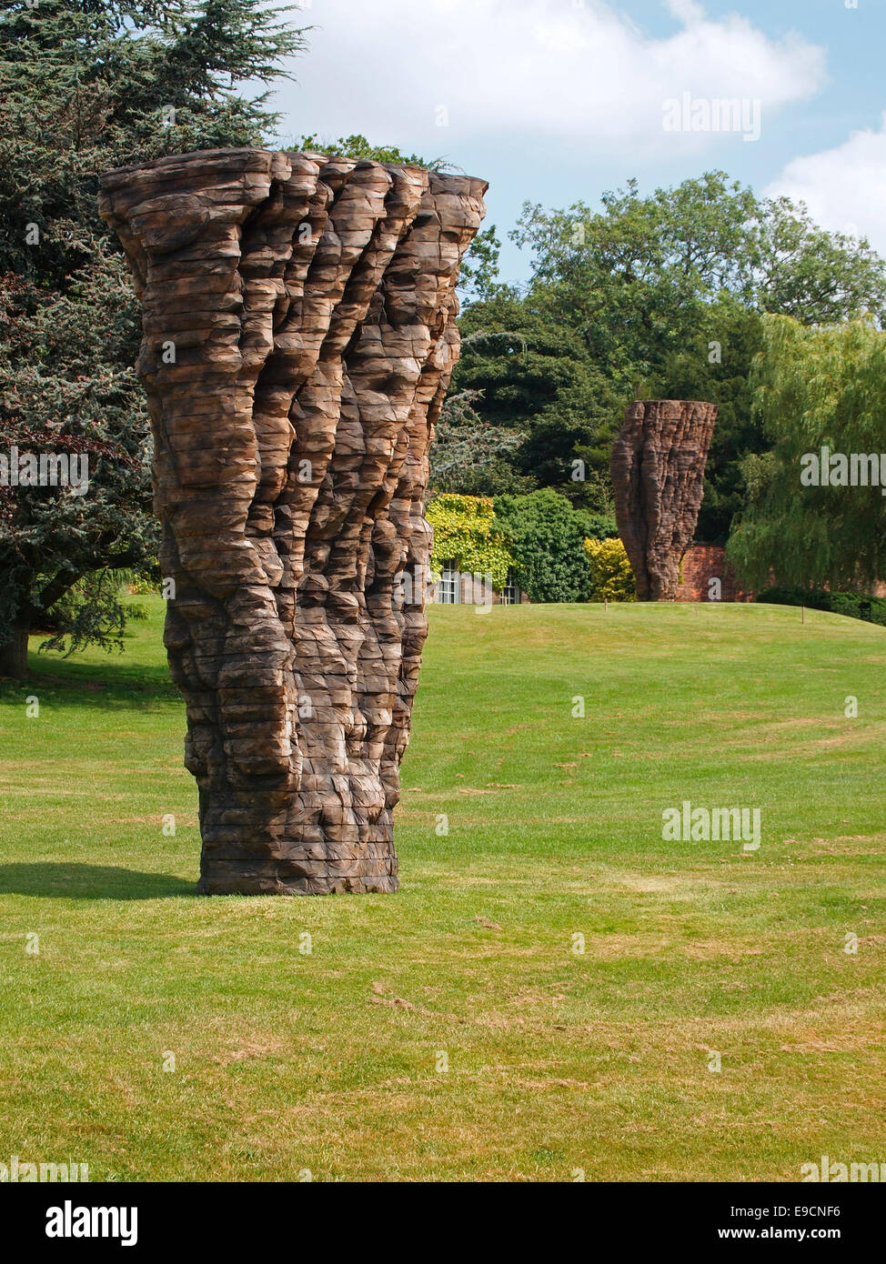 Martin F., a sculpture (2013-4) by Ursula von Rydingsvard at an exhibition of her work at the Yorkshire Sculpture - Stock Image