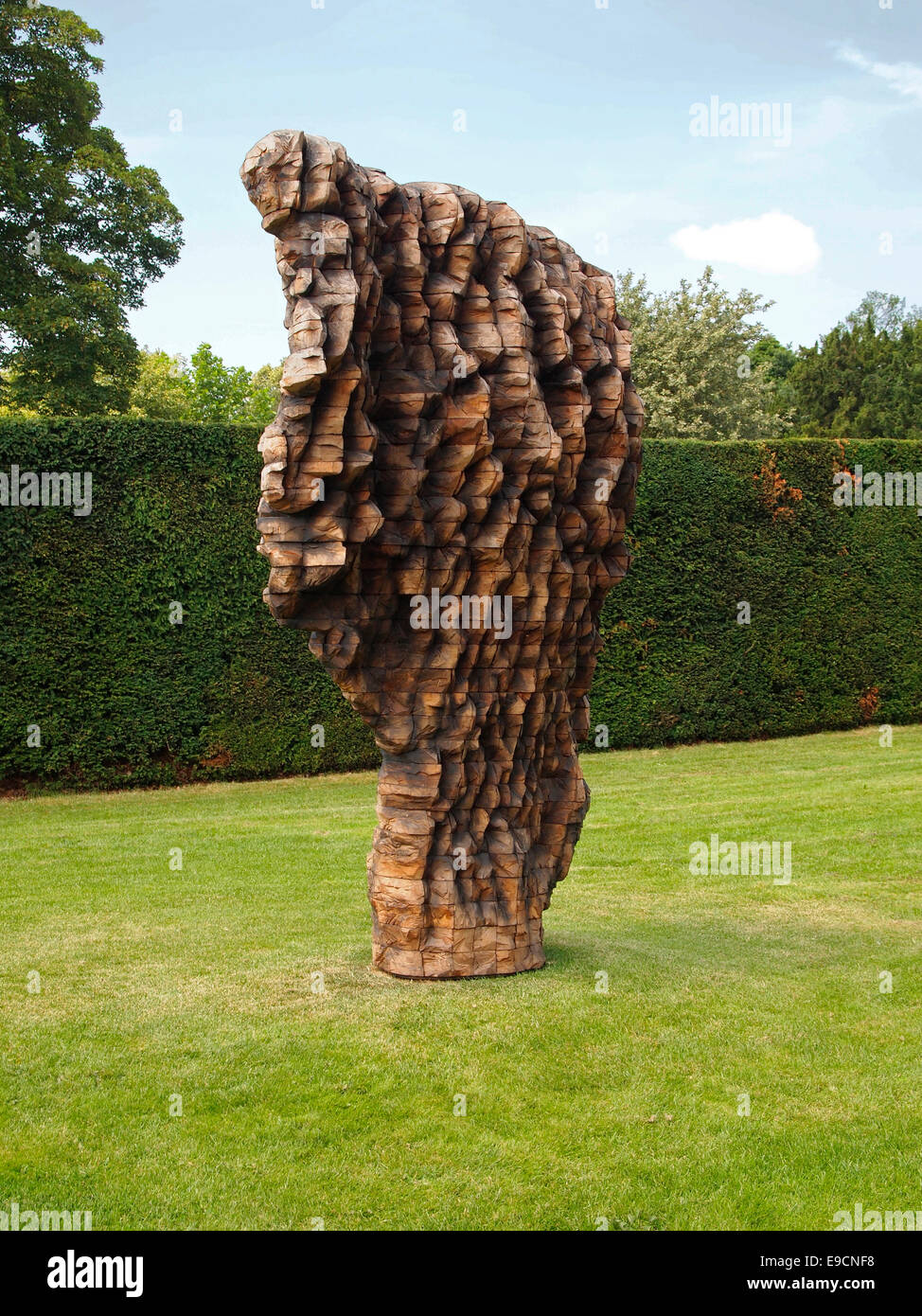 Scratch, a sculpture (2013-4) by Ursula von Rydingsvard at an exhibition of her work at the Yorkshire Sculpture - Stock Image