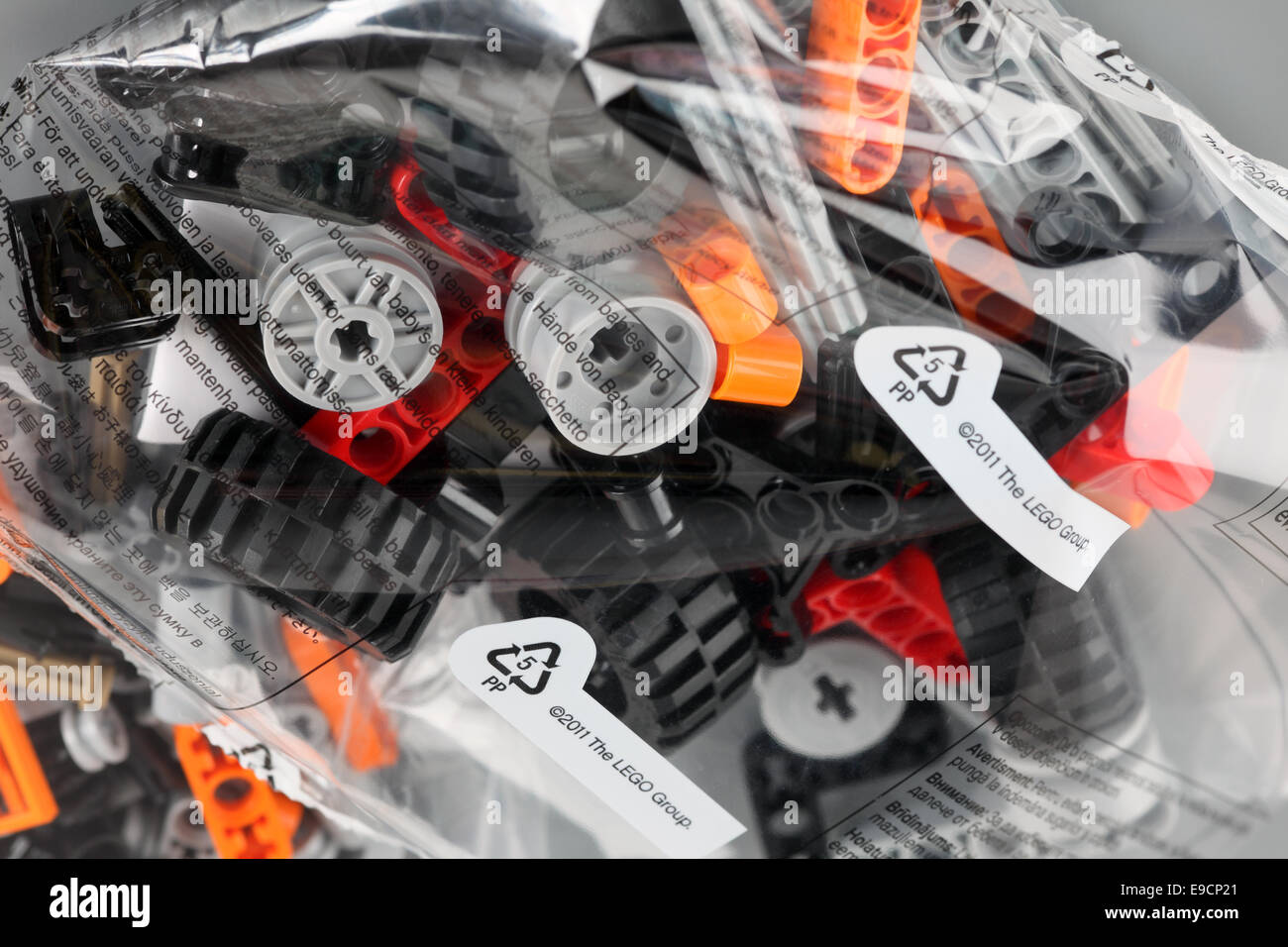 Tambov, Russian Federation - April 06, 2013 LEGO Technic constructor set in plastic packs on grey background. Studio - Stock Image