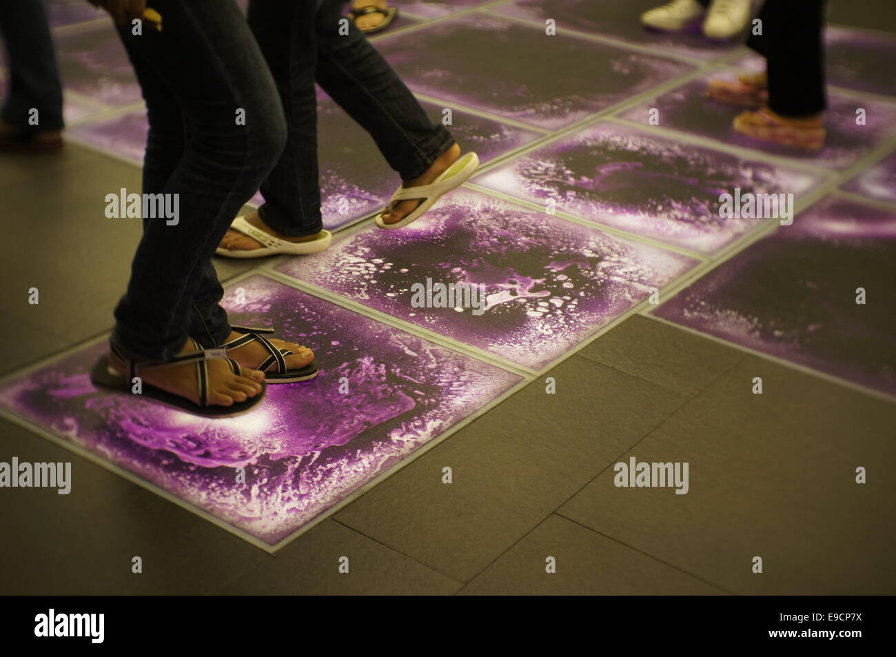 liquid floor tiles swirling - Stock Image
