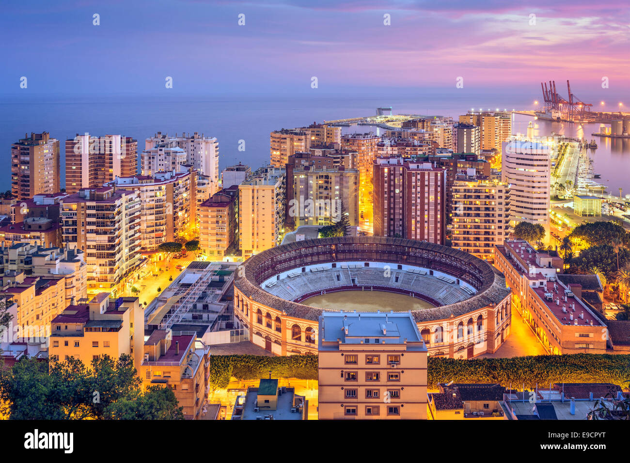 Malaga, Spain cityscape on the Mediterranean Sea. - Stock Image