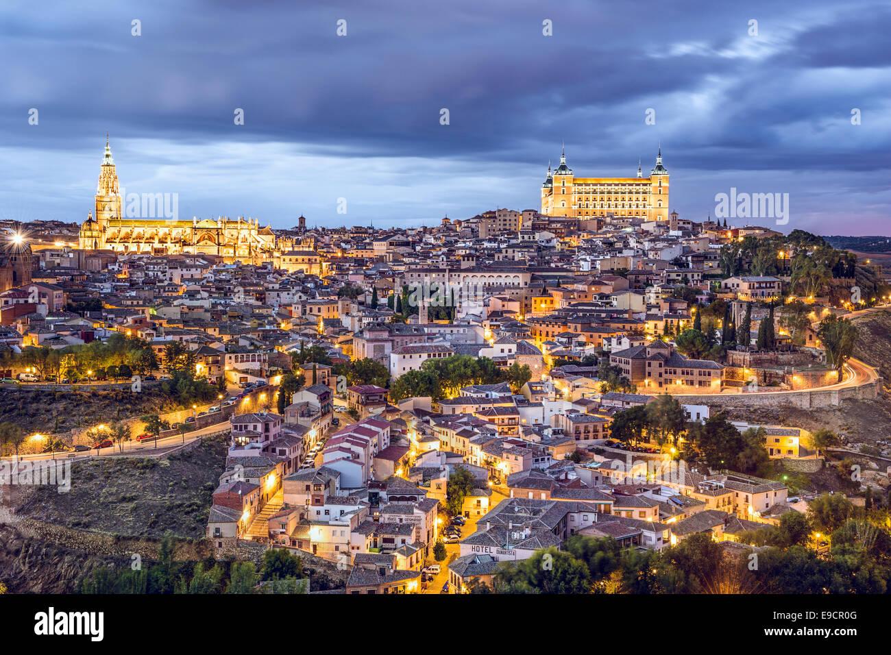 Toledo, Spain town skyline on the Tagus River. Stock Photo