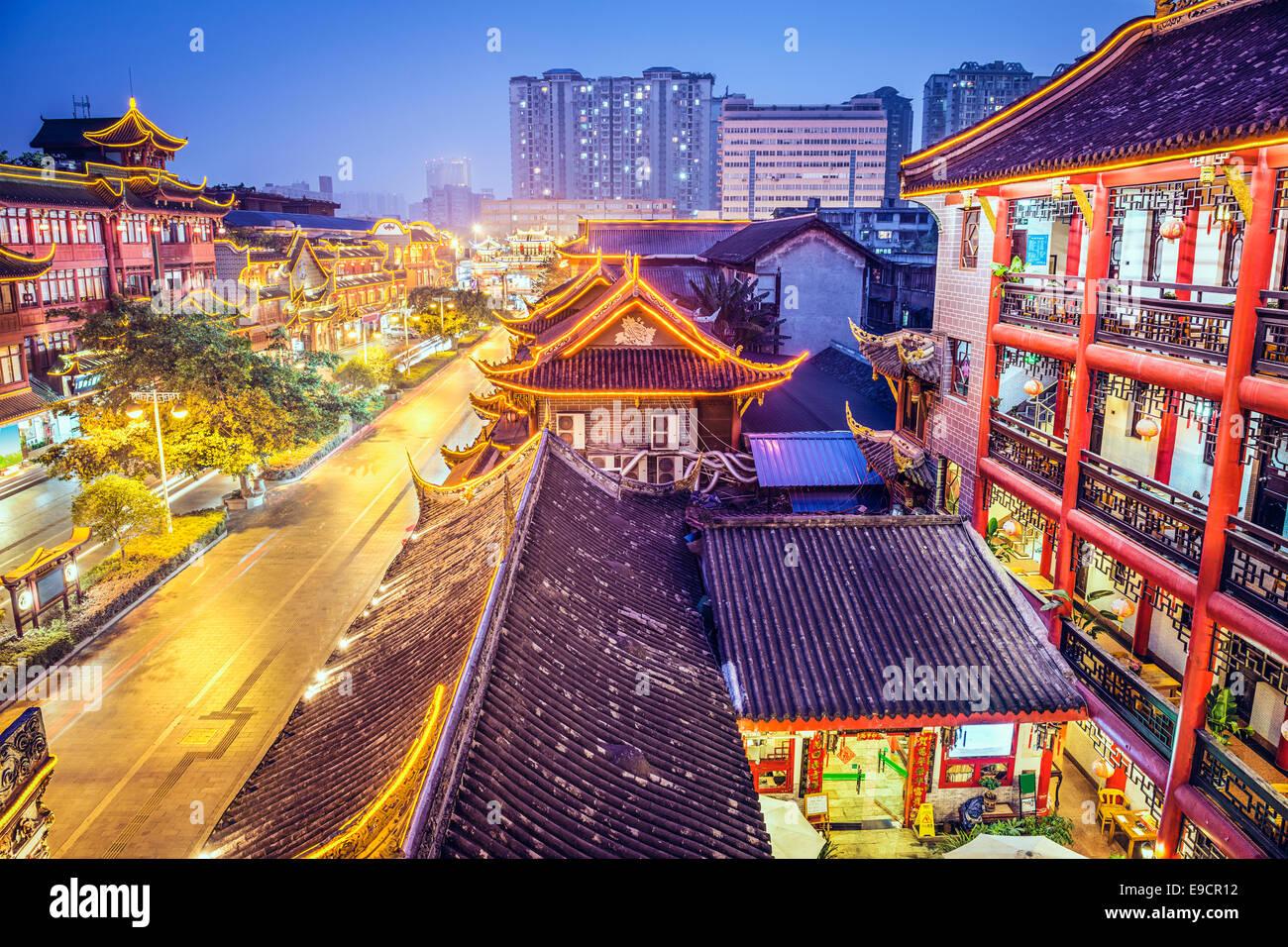 Chengdu, China cityscape above Qintai Road. - Stock Image