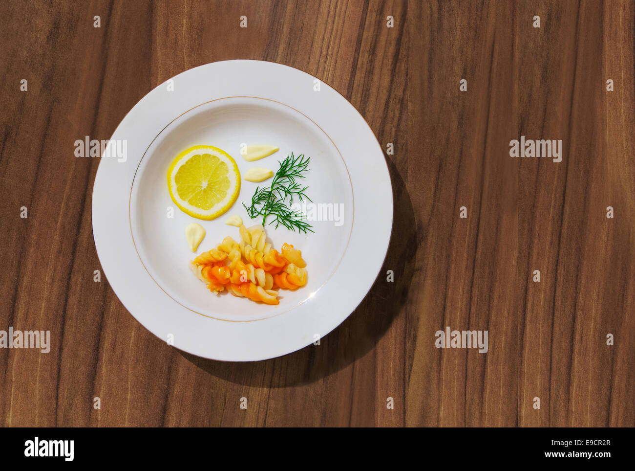 Composition With Lemon Dill Mayonnaise Pasta On A White Plate The Table