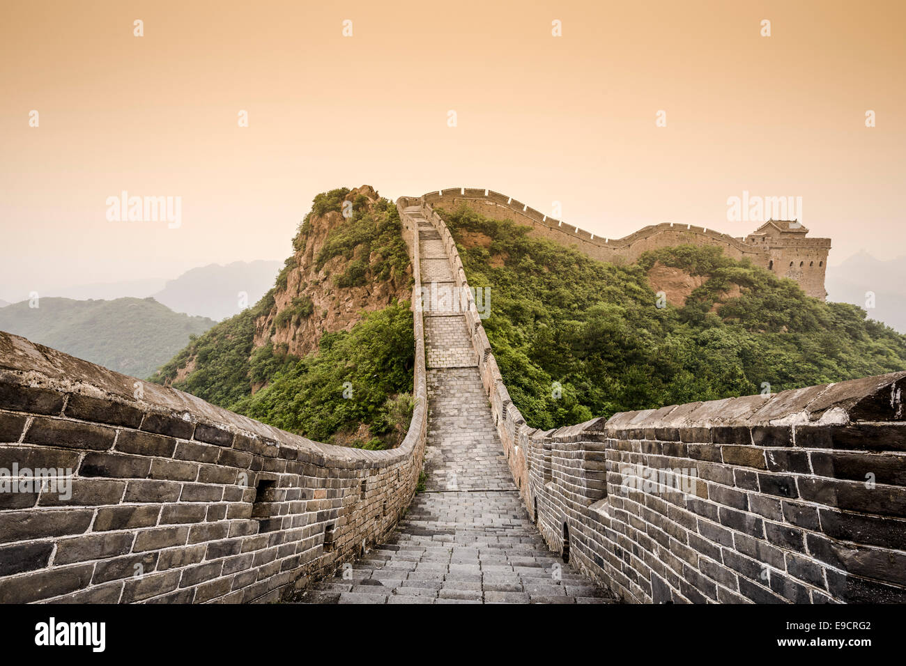 Great Wall of China at the Jinshanling Section on a hazy day. - Stock Image