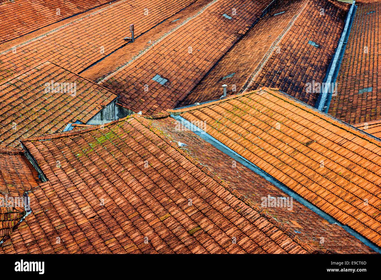 Portuguese rooftops in Porto, Portugal. - Stock Image