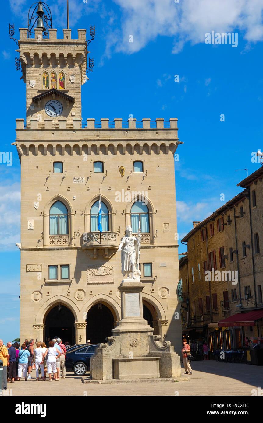 San Marino. Palazzo Pubblico. Piazza della Liberta; Liberty Statue; Monte Titano. Republic of San Marino. Italy. - Stock Image