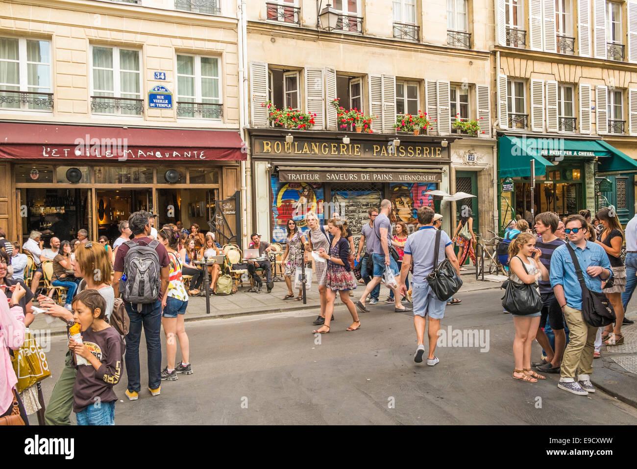 street scene at  rue sainte-croix de la bretonnerie, rue vieille du temple junction in the marais district - Stock Image