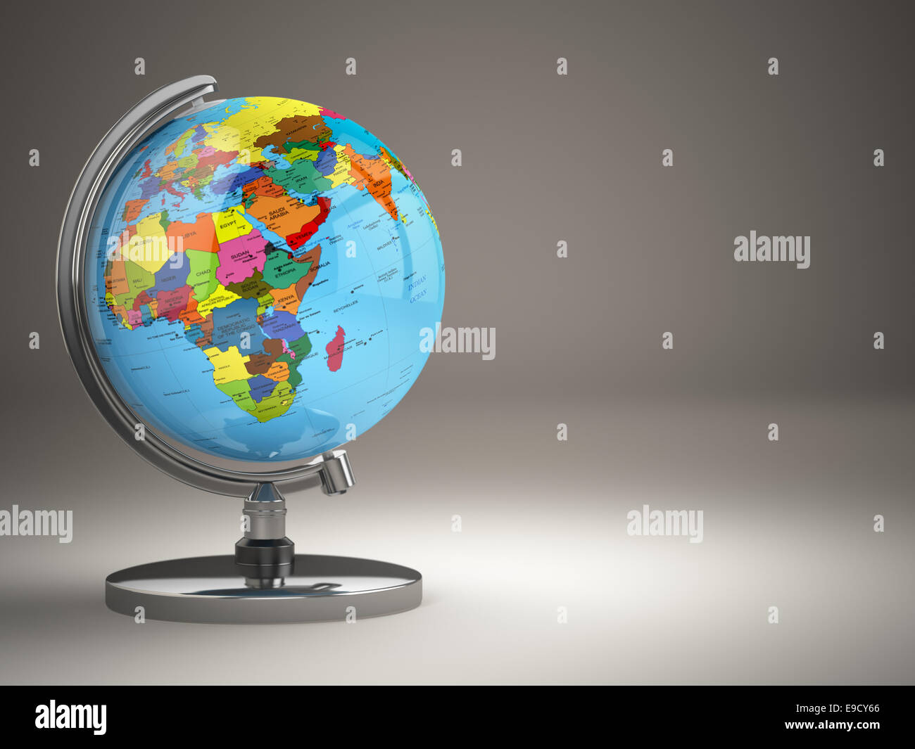 Attractive Globe With Political Map On Grey Background. 3d   Stock Image