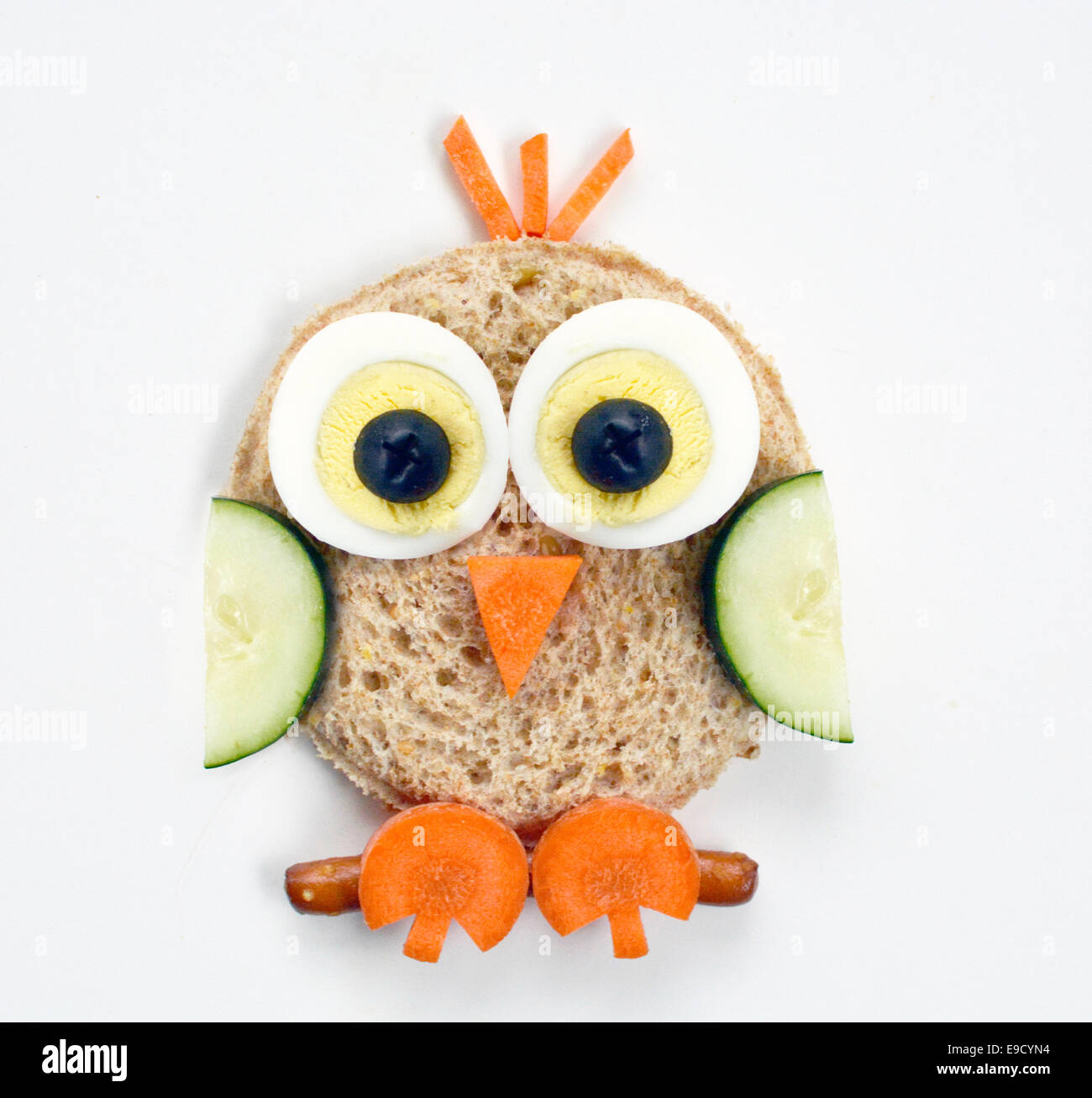 Owl food art - Stock Image