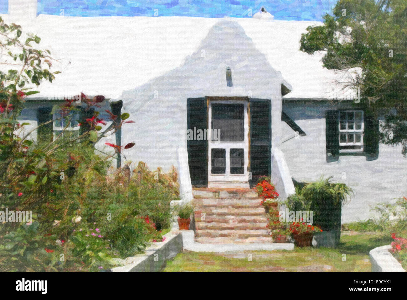 Digital painting of a very old Bermudian home with a front garden. - Stock Image