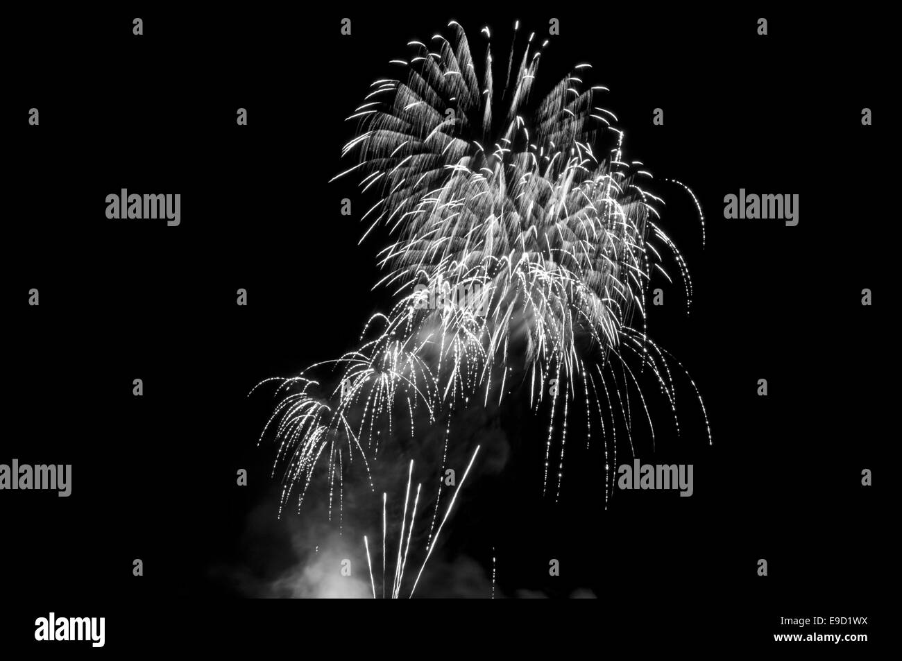 Arty looking fireworks display on Guy Fawkes night, Lindfield common, West Sussex, England. - Stock Image