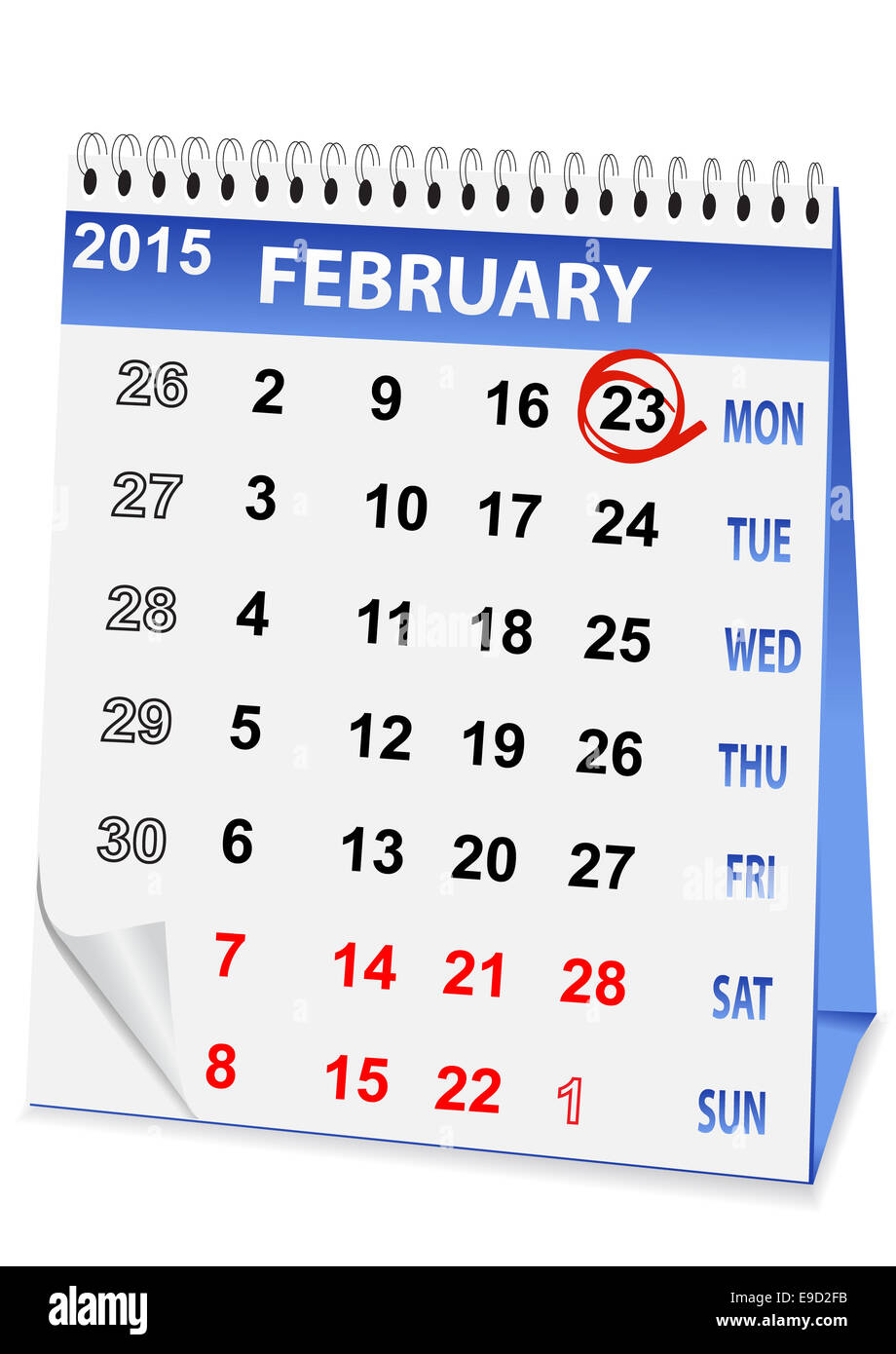 icon in the form of a calendar for 23 February - Stock Image