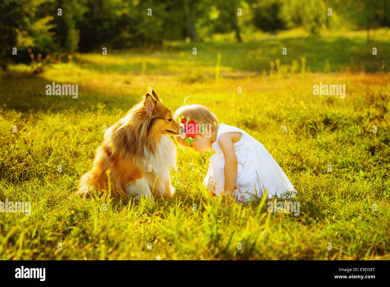 Little girl and dog - Stock Image