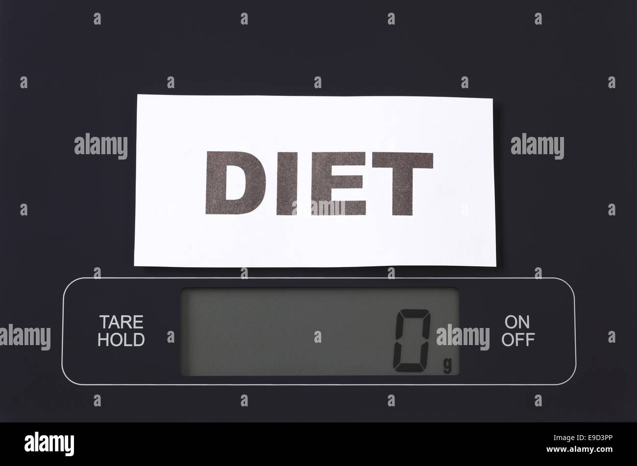 Word 'Diet' in a black plate on digital scale displaying 0 gram. - Stock Image