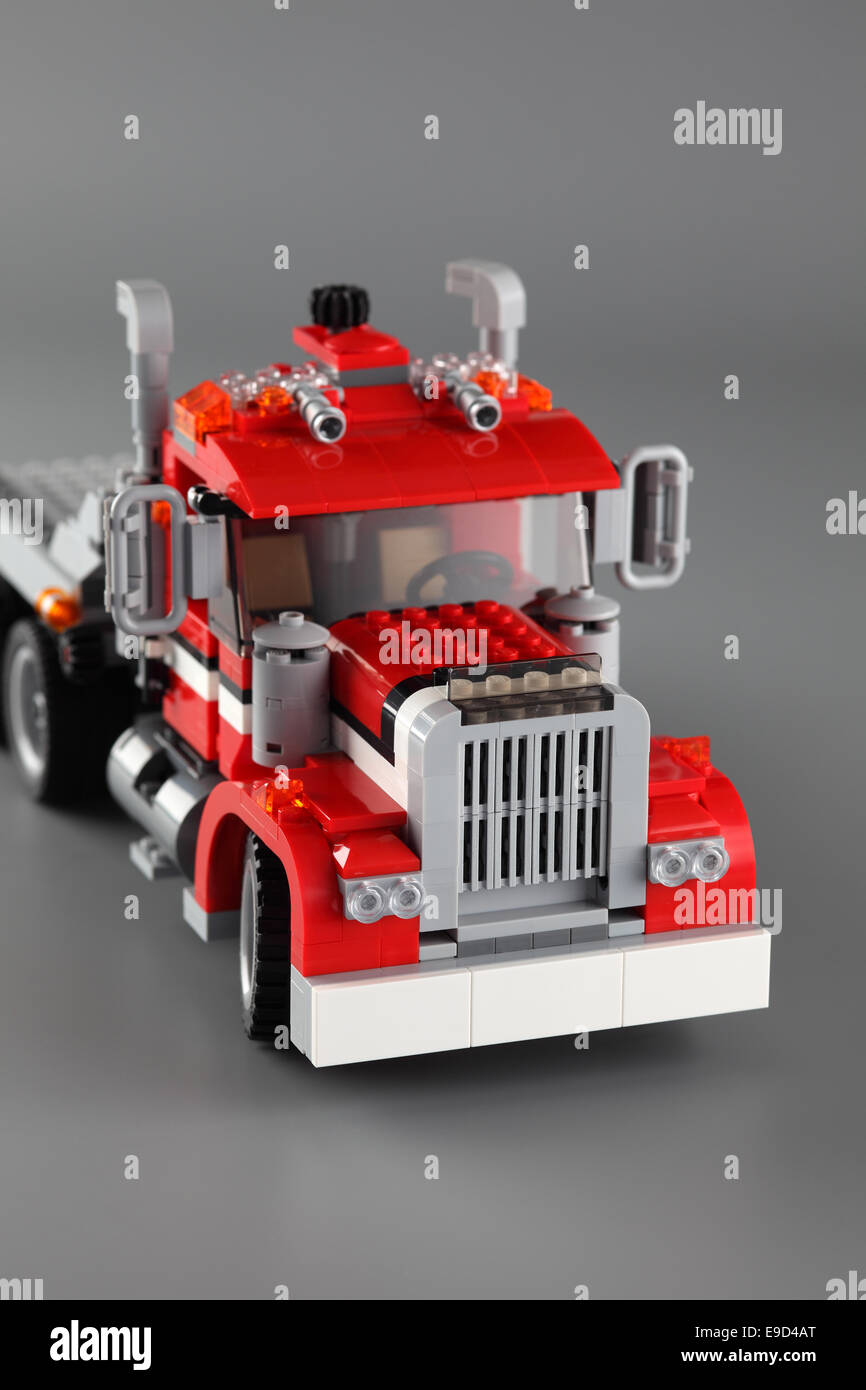 Tambov, Russian Federation - June 22, 2013 LEGO Creator set '3-in-1 Highway Pickup' on gray background. - Stock Image