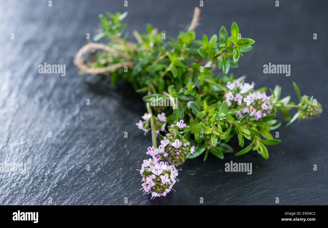 Small heap of Winter Savory (detailed close-up shot) - Stock Image