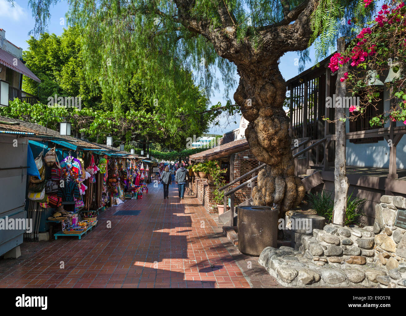 Market booths outside the Avila Adobe on Olvera Street in Los Angeles Plaza Historic District, Los Angeles, California, - Stock Image