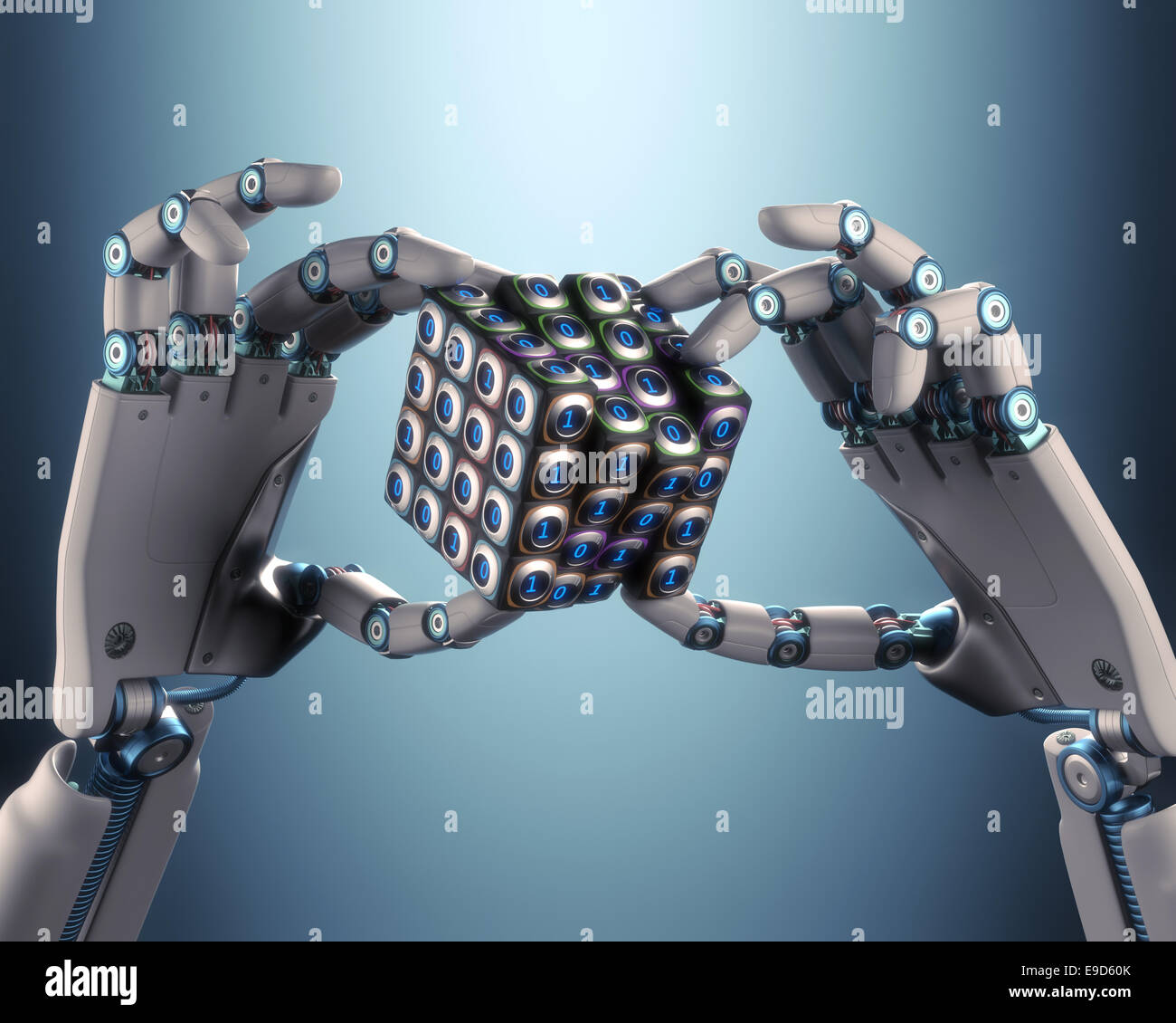 Robot hand holding a binary cube concept of logical processing. Clipping path included. - Stock Image