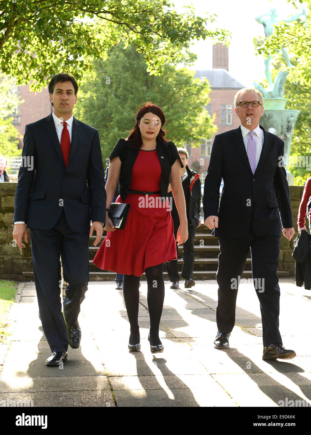 Ed Miliband British Labour Party politician visits Dudley College with Dudley South candidate Natasha Millward and - Stock Image