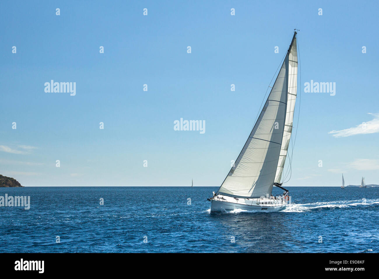 Boat in sailing regatta. luxury cruise yachts. Picture with space for text. - Stock Image
