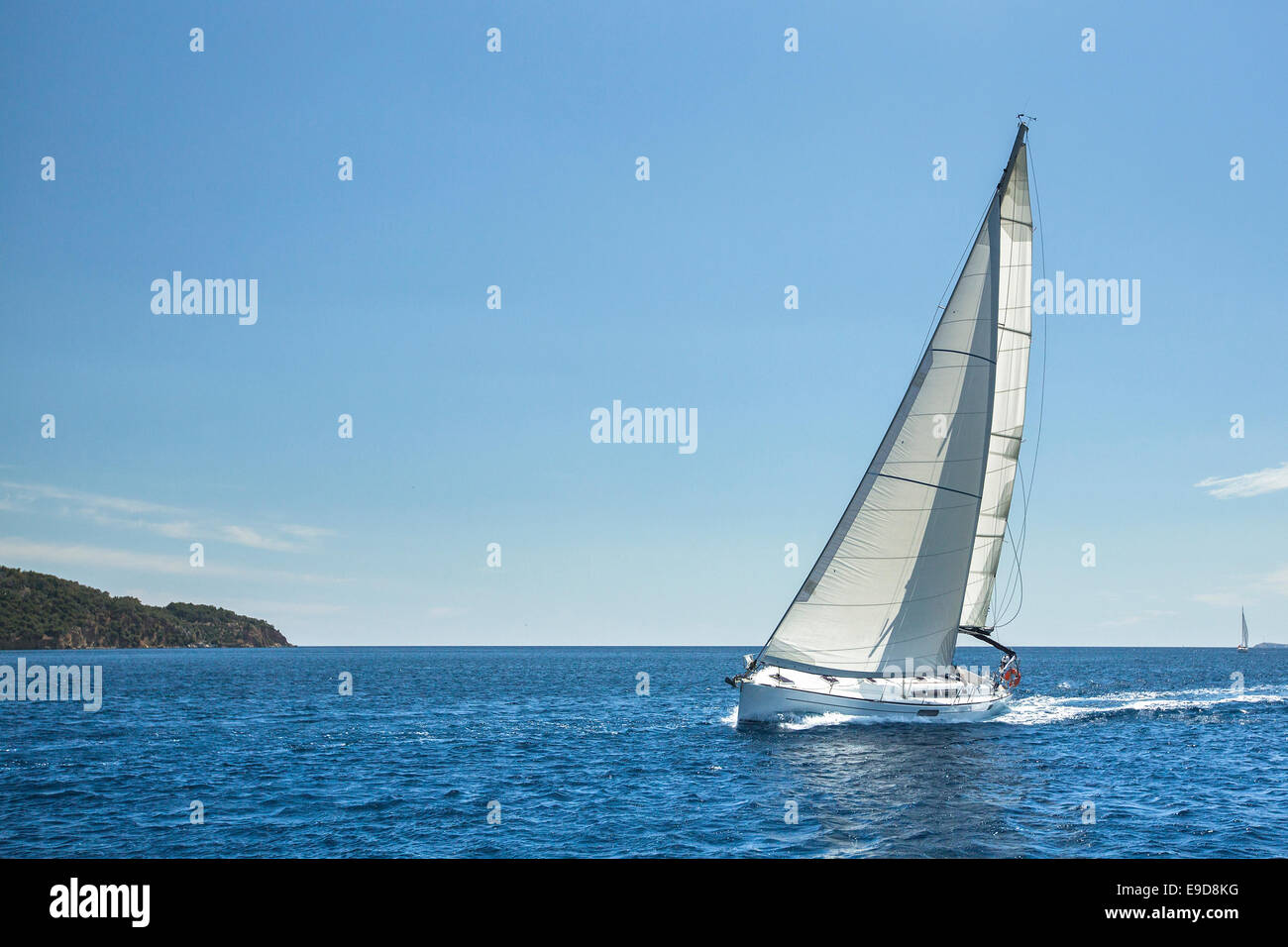 Sailing off the coast of Greece in the Aegean Sea. Luxury yachts. - Stock Image