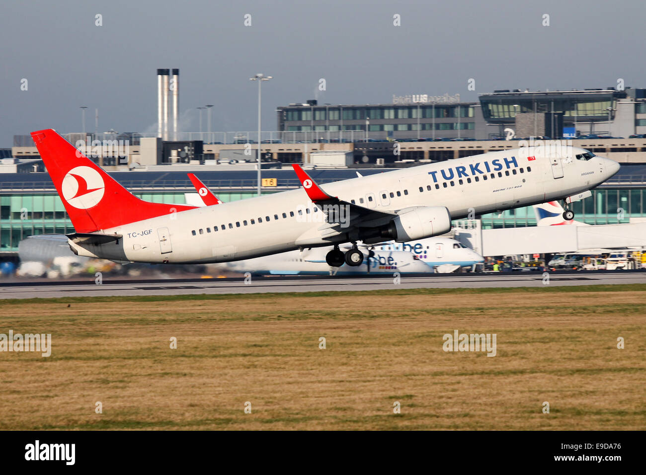 Turkish Airlines Boeing 737-800 rotates from runway 05L at Manchester airport. - Stock Image