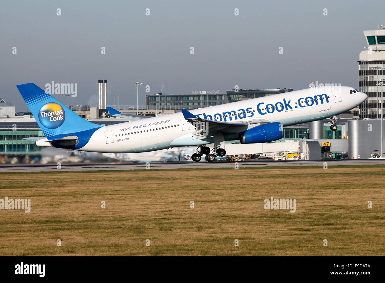 Thomas Cook Airbus A330-200 rotates from runway 05L at Manchester airport. - Stock Image