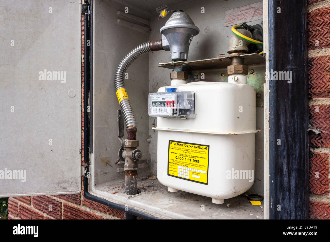 Gas Meter For A Domestic Gas Supply In Cupboard On Wall