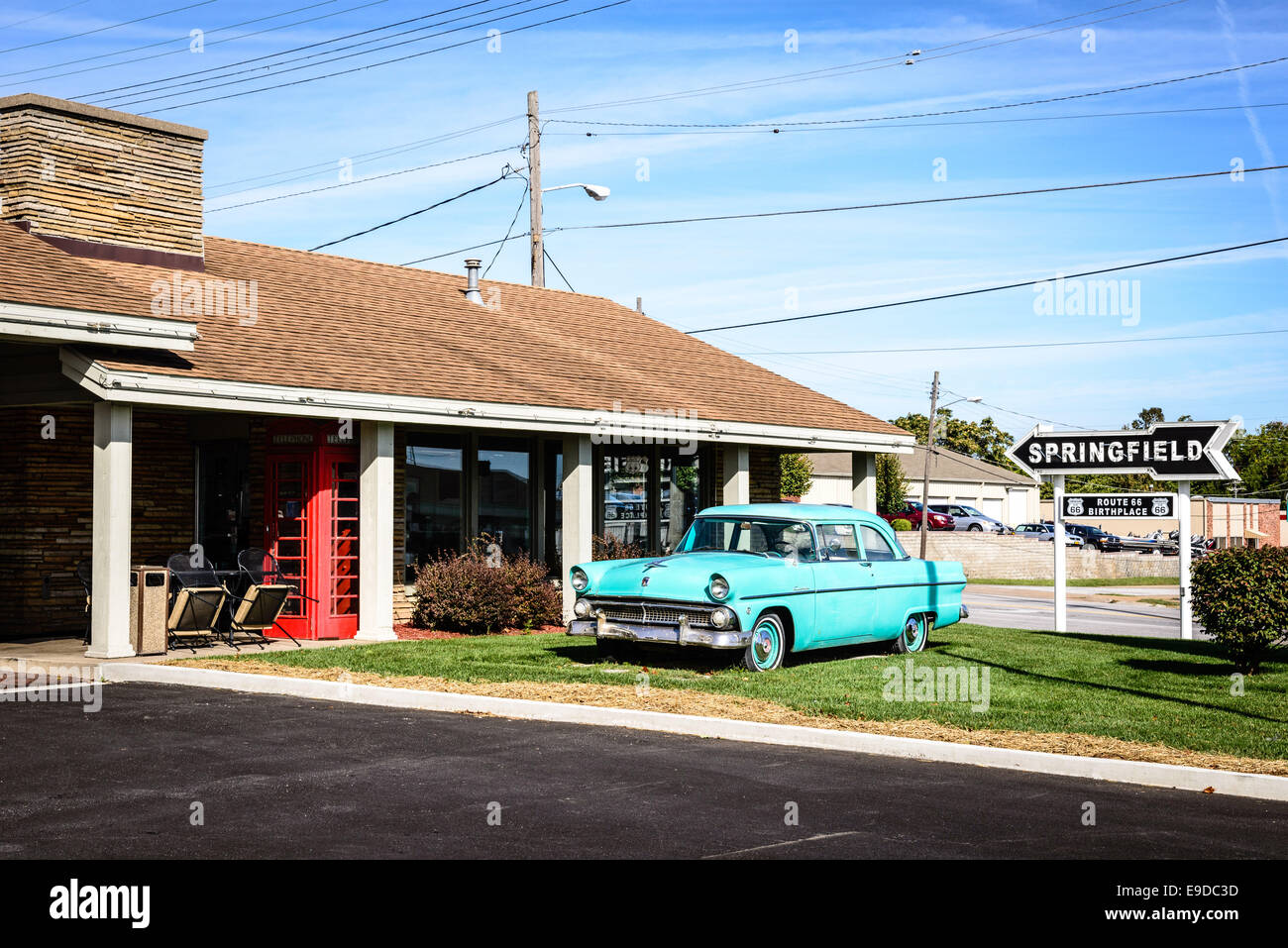 1955 Ford Stock Photos Images Page 3 Alamy F100 Pro Street Custonline Outside Motel Route 66 Rail Haven 203 South Glenstone Avenue Springfield