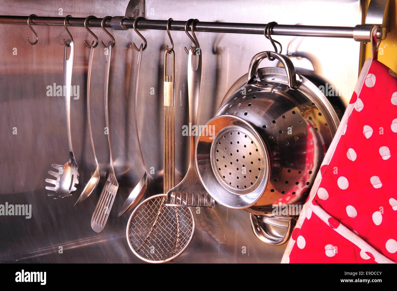 Kitchen Utensils on Stainless Steel - Stock Image