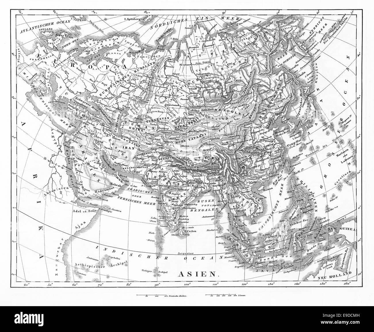 Engraved illustration of a Map of Asia from Iconographic Encyclopedia of Science, Literature and Art, Published - Stock Image