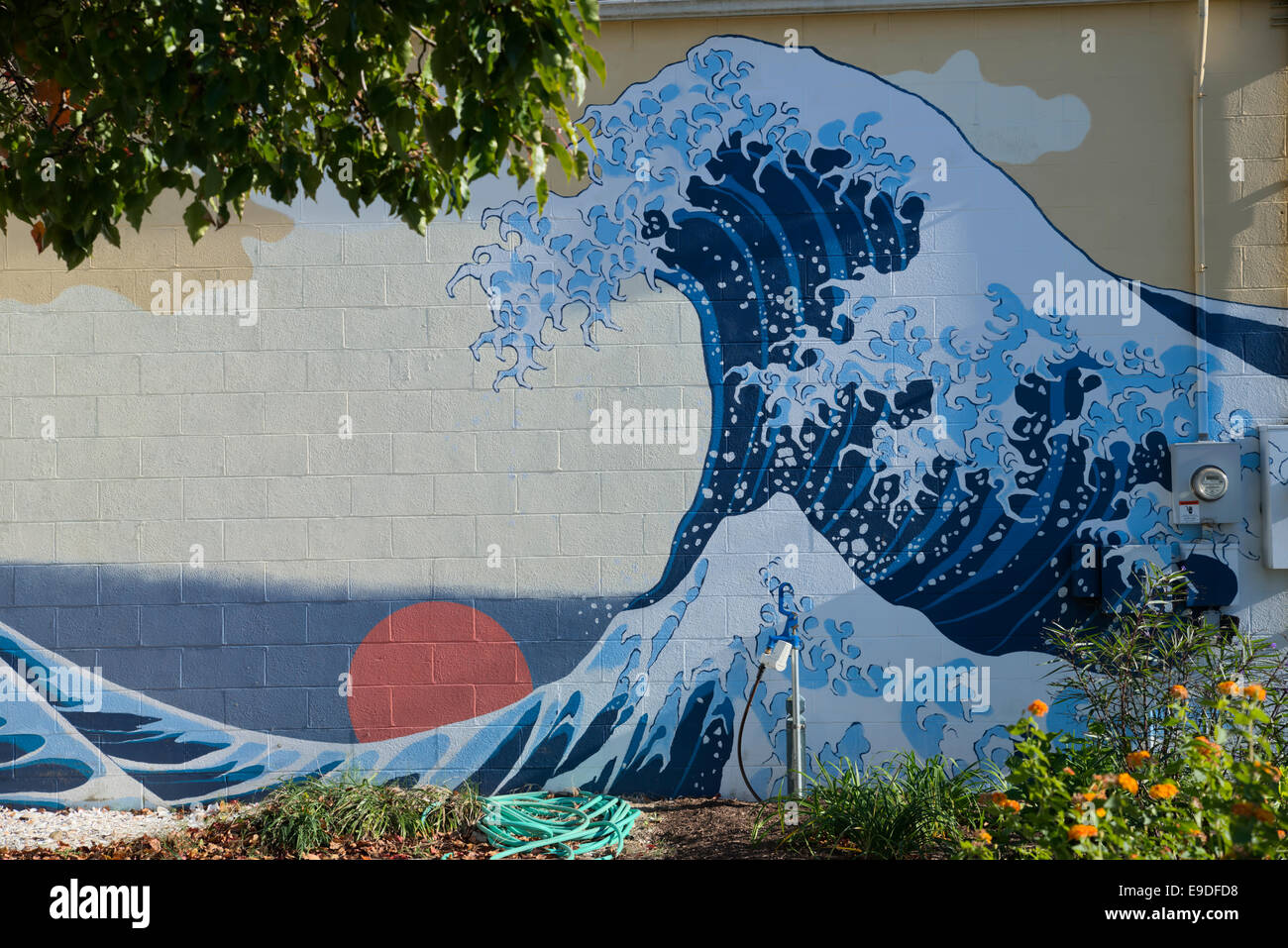 Wall mural in style of Hokusai - Stock Image