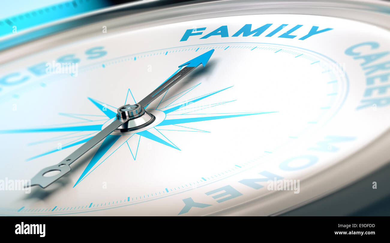 Psychology concept, family vs career. Compass pointing the word family, blue and beige tones. - Stock Image
