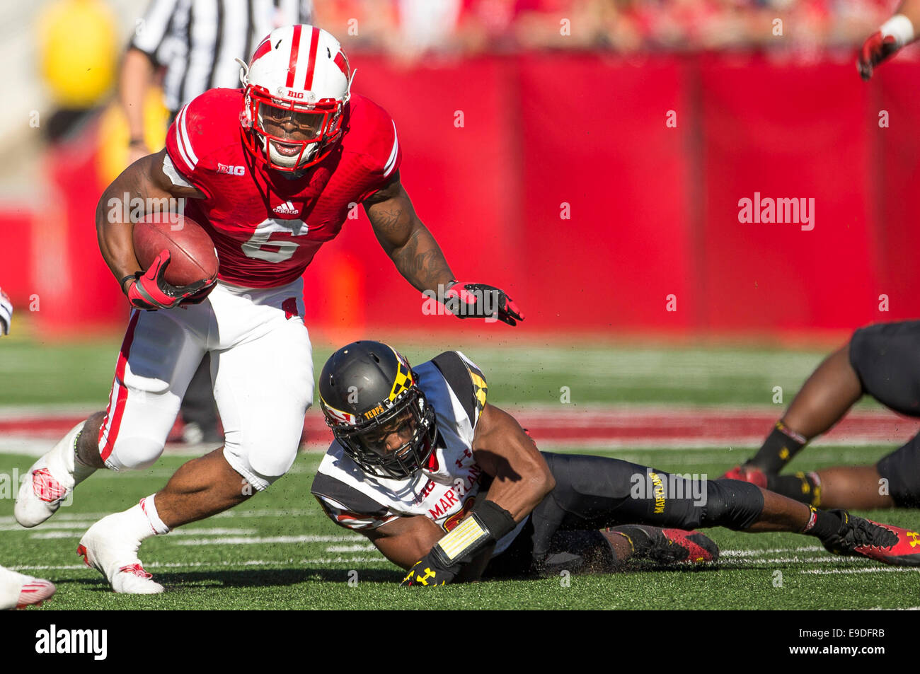 October 25, 2014: Wisconsin Badgers running back Corey Clement #6 rushes the ball during the NCAA Football game - Stock Image
