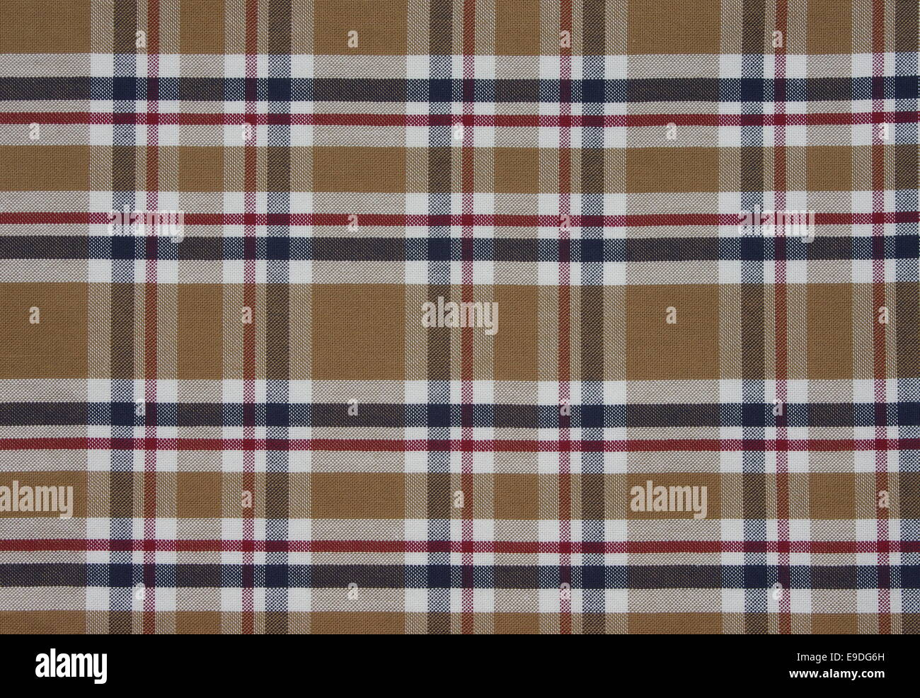 fabric Tartan pattern. Brown with red,white and blue - Stock Image