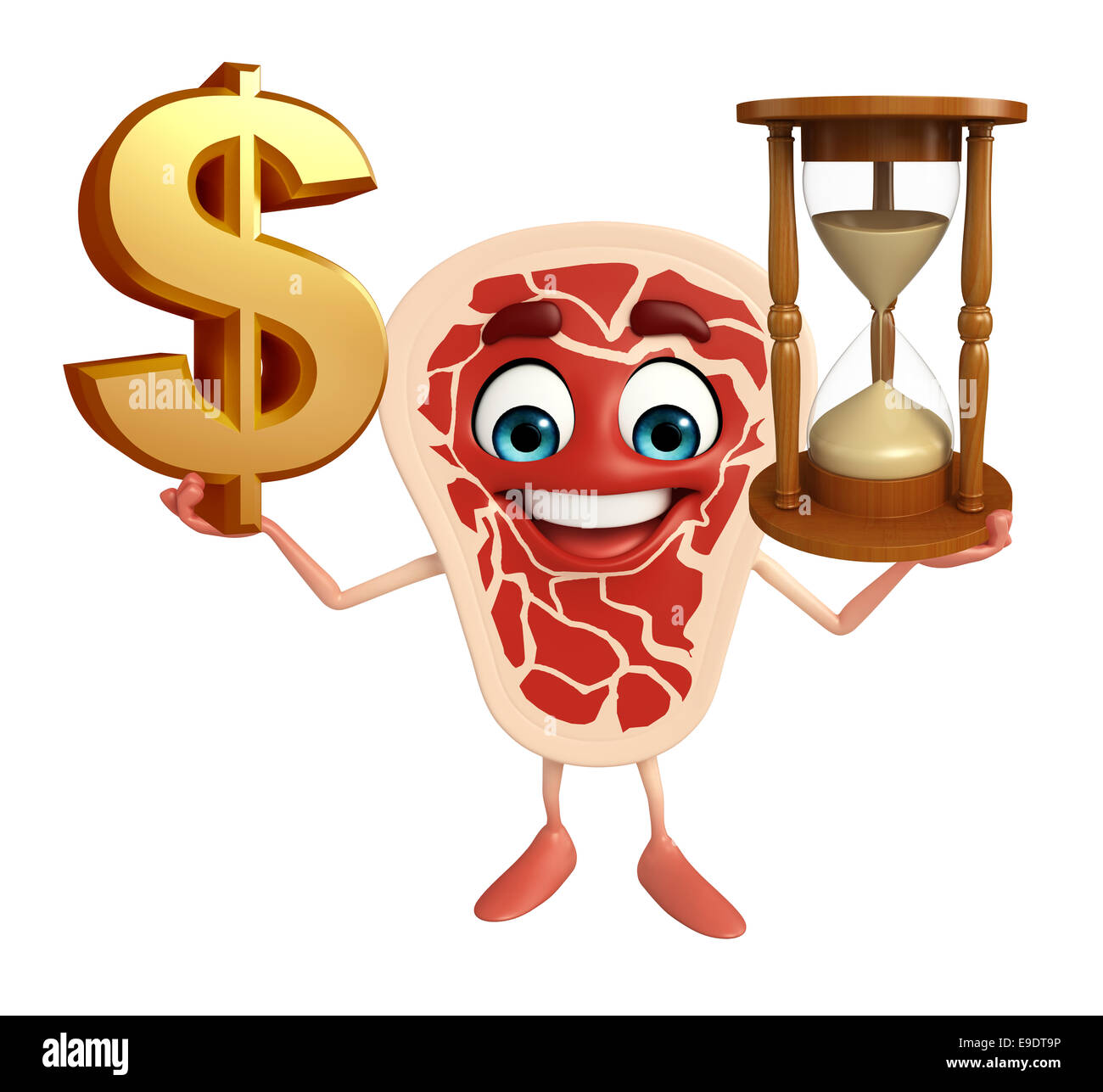 Cartoon Character Of Meat Steak With Dollar Sign Sand Clock Stock