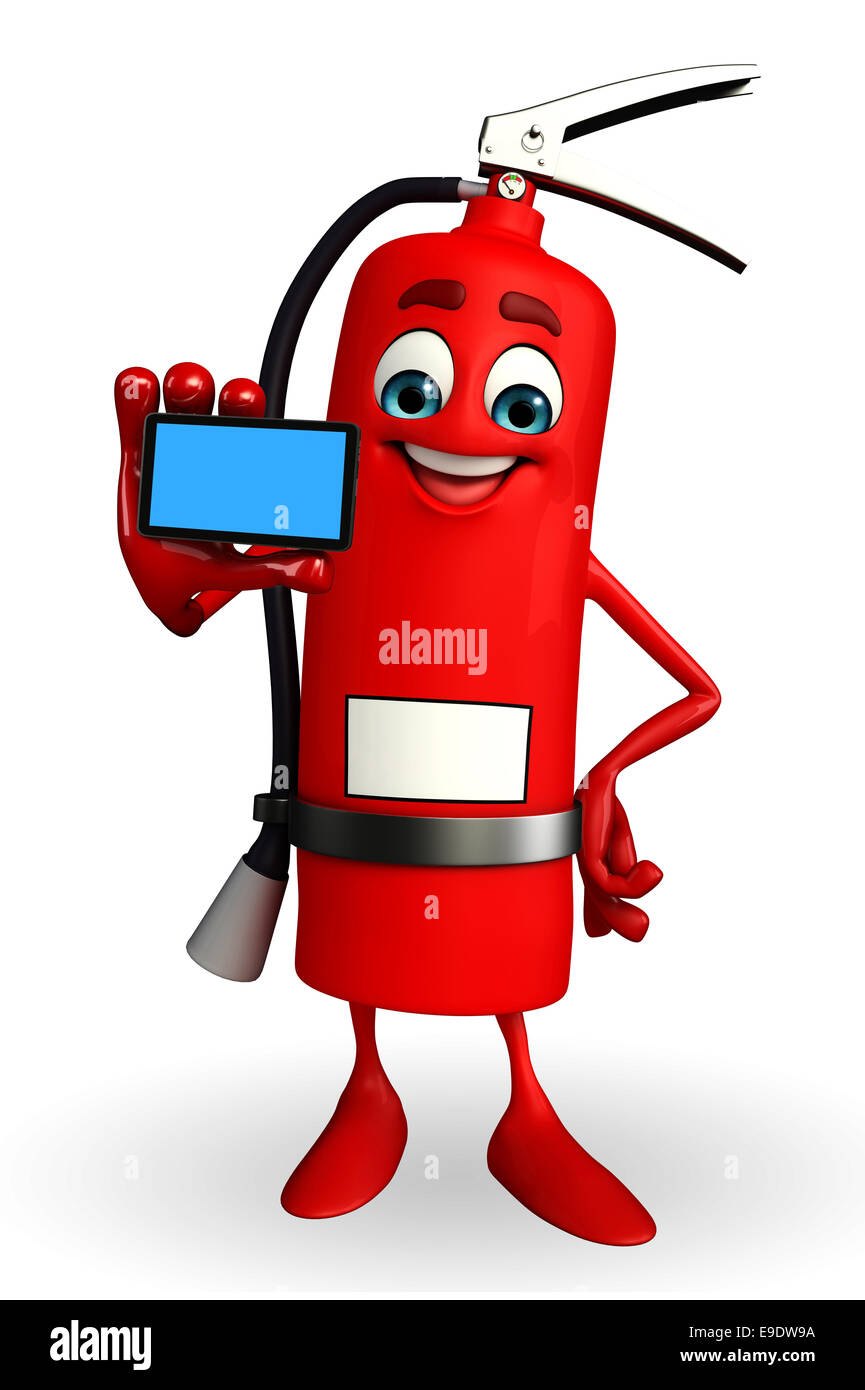 cartoon character of fire extinguisher with mobile stock photo rh alamy com fire extinguisher cartoon pictures cartoon fire extinguisher clipart