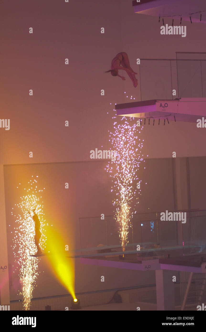 Diving show with disco lights, fireworks and spectacular diving at the opening of Ado Arena Swim center in Bergen, Stock Photo